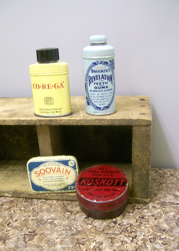 4  Vintage Tins from 30s 40s Old Medicine Cabinet