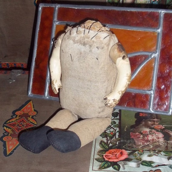 Hard Stuffed Straw Headless Doll Antique,