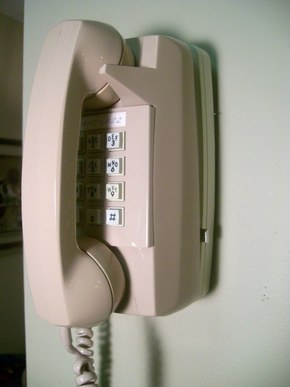 Tan Gte Wall Telephone With Wall Mount