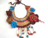 Colorful floral weave crochet bib necklace now  freeshipping