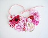Pink tones Flowers Spring Garden Bib Necklace on wedding dress Accessorie