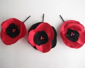 Handmade fabric flower poppy hairpins ,hair clips, prom,hair flower