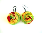 Handmade fabric flower earrings
