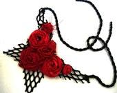 Shabby chic flapper statement bib necaklace black and red Repurposed fabric