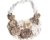 Cream and ecru  floral statement  bib necklace wedding  flower