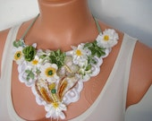 50% Sale White Daisy Garden Spring Statement Bib Necklace Lace Cuff Bracelet