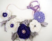 25% sale Crochet flowers bib necklaces tulle leaves and bead embroidery  bibnecklace