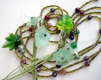 25% sale Green Tones Multi Strands Flowers and leaves long necklace