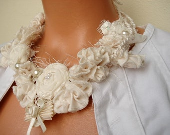 Ivory cream Fabric bib necklace boho wavy curly romantic necklace, Cream fabric flower necklace with bow