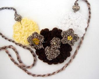 Crochet Flower necklace, statement jewelry, collar bib necklace, fiber jewelry, yarn necklace