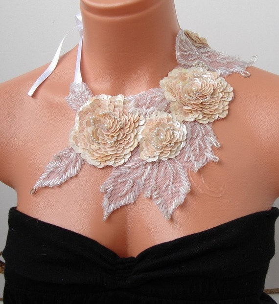 Sequin and Beads  Embroidered  Shining Necklace and Earring SET transparent ,romantic and charming