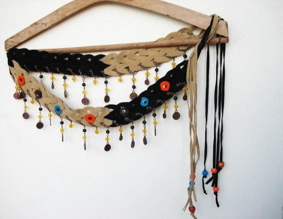 50% off, Fringe Beaded Belt Felt embellishment Suede black and camel two colored  handmade  bohemian belt