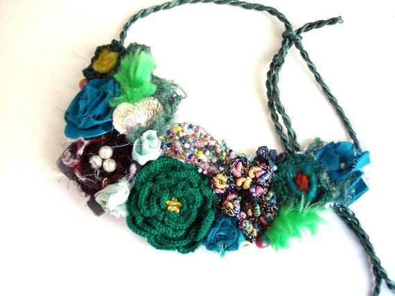 SALE  Handmade forest  Necklace secret Garden bird nest Statement Bib