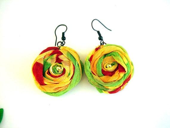 Handmade fabric flower earrings