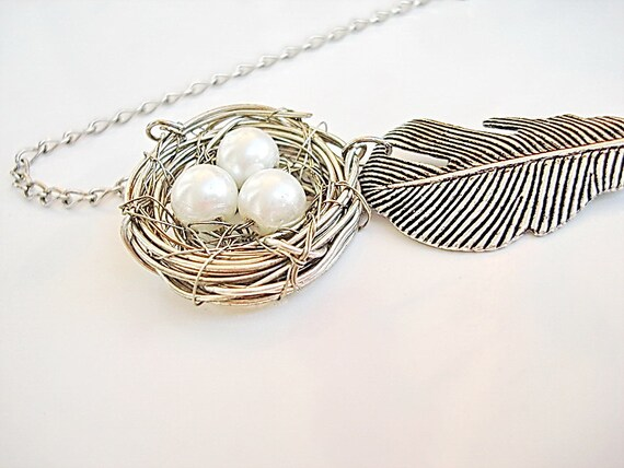 Bird Nest Pendant Necklace with metal feather leaf