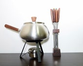 vintage Stainless Steel and Teak Fondue Set, with fondue forks