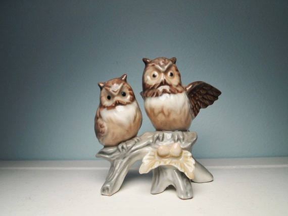Sweet Owl Couple on a Branch, vintage figurine