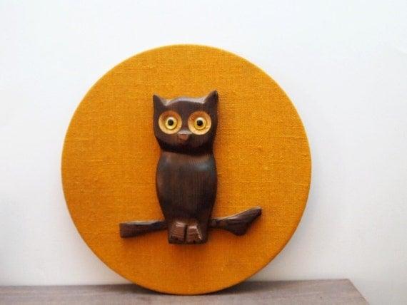 vintage Wood Owl on Orange Burlap Circle, Original by Robbie Probert