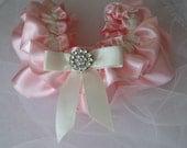 Pink Garter, Elegant Ruffled Pink and Ivory, white bridal garter