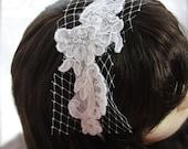 Vintage Lace Headband Romantic French, Russian Net Alencon lace satin wrapped white bridal head piece
