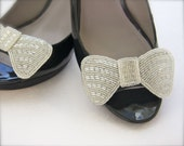 Bow Shoe Clips, Silver Beaded Bow Wedding Shoe Clips
