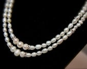 Freshwater Pearl Rhinestone Double strand (2) Necklace, wedding statement necklace, bride, bridesmaids
