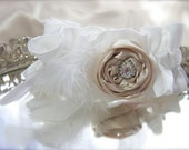 Champagne Rosette Garter, Vintage Rhinestone Jewel, Feathers, Ivory or white fabric bridal garter
