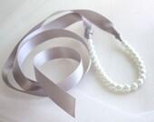 Pearls Ribbon Tie Necklace Rhinestone Brooch, white, ivory, pink, Rhinestone options, petite length, Custom Wedding Colors Pearls, Ribbons