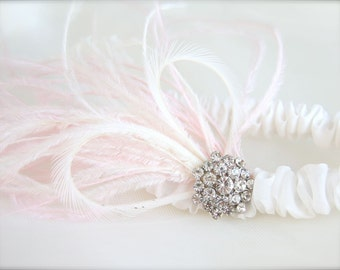 Feather Garter with Heart, Rhinestones, Pink Feathers, Crystal Rhinestones, Narrow Band, White or Ivory Bridal Garter with feathers