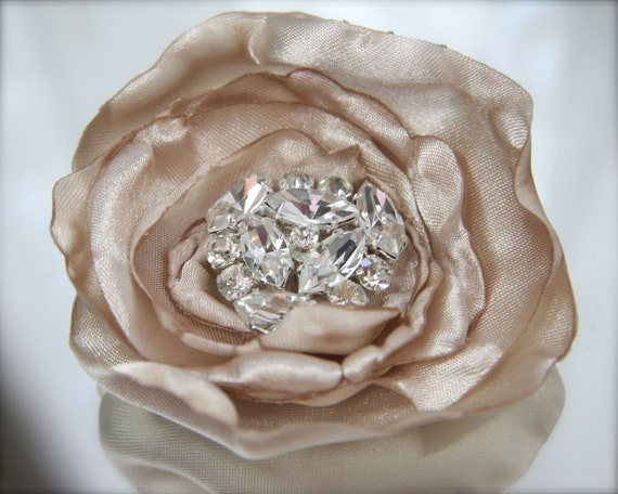 Champagne Hair Flower Old Hollywood Glamour Rhinestone Vintage Style Jewel, Many Color Options
