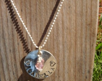 Hand-Stamped Sterling Silver Pendant