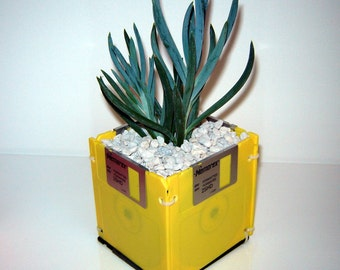 DISK-PLANTER Earth Day Eco-Friendly Recycled Repurposed 2HD diskette planter YELLOW