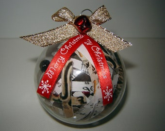 Christmas Ornament Filled Glass Ball Music Christmas Carol (Set of 6)