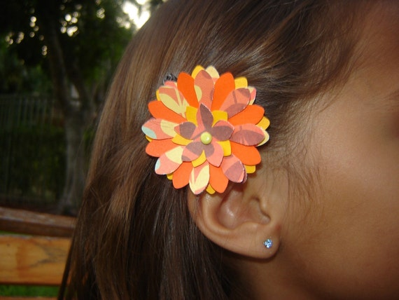 SALE Paper Flower Barrette - Autumn Fall Orange Brown Sunset FREE SHIPPING