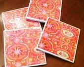 Set of 4 Hot Pink and Orange Coasters