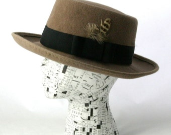 Men's Gray Fawn Porkpie Hat Made to Order
