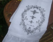 French Country Cottage Ruffled Flour Sack Towel (3 bee's B&W)