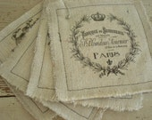Handmade, Coasters, French, Shabby Chic, Cottage, Farmhouse (Paris Labels 1) Creamy Canvas