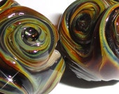 RAKU TWISTERS...Set of  Four... Handmade Lampwork Glass Beads earth colors ...BeatleBaby Glassworks