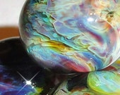 AFTER the STORM...Four Handmade Lampwork Beads purple black blue swirl planet reactive BeatleBaby Glassworks