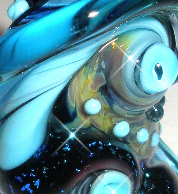 PENNY'S GOT THE BLUES AGAIN.....Organic Focal... Handmade Lampwork Sea Beads...BeatleBaby Glassworks