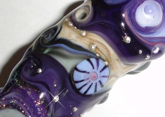 Dreaded Purple Reign XL Totem Pole....An Original Beatlebaby Glassworks Bead...8mm hole for Dreads,Dreadlocks. Handmade Lampwork Glass Bead