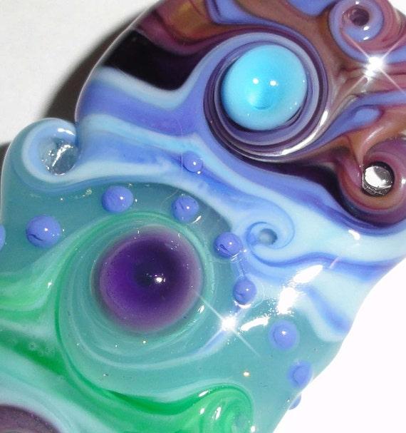 "Plum Crazy...... An ORIGINAL ""Sea Bead"" by Beatlebaby Glassworks...Handmade Lampwork Glass Organic Focal"