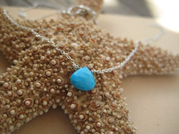 Dainty Sleeping Beauty Turquoise Solitaire Necklace