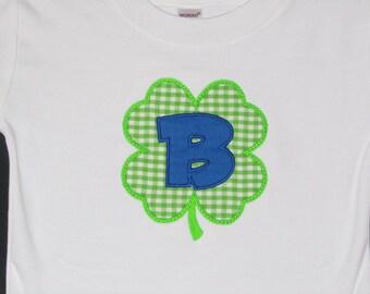 Personalized Initial St. Patrick's Day Shamrock Shirt Boy