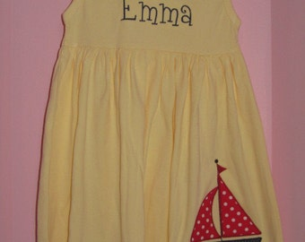 Personalized Yellow Sailboat Dress Red and Navy