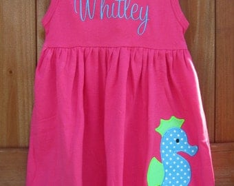 Personalized HOT PINK Seahorse Dress or Swim suit cover up