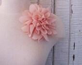 huge fluffy, pale pink flower, rosette, dahlia, mum brooch TREASURY ITEM