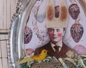 bunny bird-man altered assemblage on silver tray