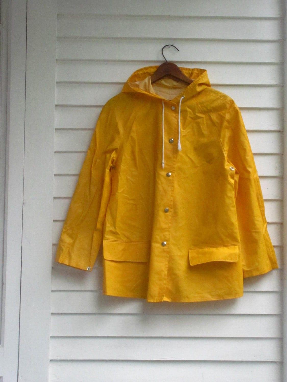 Vintage Yellow Rubber Rain Coat Rain Slicker With Snaps